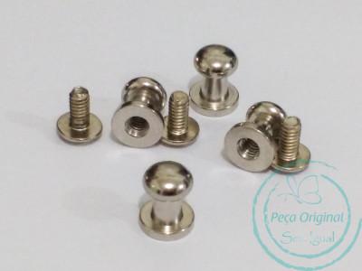 Carrapeta Puxador em aço - Niquelado - pct c/ 10 peças